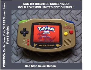 Game Boy Advance GOLD POKEMON LE System AGS101 Backlit Mod-Glass Screen RED SS
