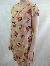 Anna Sui Size M or 10 Peach Cherry Silk Mini Dress
