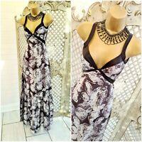 NOUGAT LONDON  UK 8 Grey Silk Scarf Floral Print Maxi Dress ~Free P&P ~