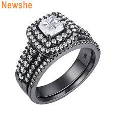 Princess Cz Sterling Silver Sz 5-12 Newshe Wedding Engagement Ring Set For Women