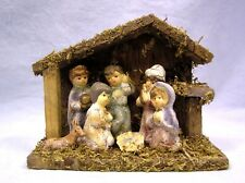Vtg 1940's NATIVITY SCENE Handpainted Composition 7 Figures in Wood Moss Manger