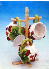 New 3D Red Cherry 4 Ceramic Mugs With Wooden Mug Tree Cherries Cup Cups