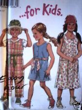 Vintage NEW LOOK SEWING Pattern 6515 Girls Dress Jumper Jumpsuit 3-8 UNCUT OOP