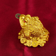 Gold Feng Shui Money Fortune Chinese I Ching Frog Toad Coin Home Store Decor