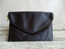 J.Crew Satin Envelope Clutch Dark Grey Zip Top Magnetic Close Chain Handle