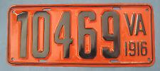 Scarce Original 1916 Virginia license plate professionally restored