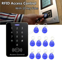 125KHz RFID Access Control System Security IDCard Password Door Lock 10 Keyfobs