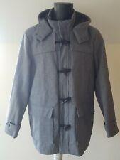 Primark Men's Grey Long Hooded Duffel Coat Size X Large Zip Up Front