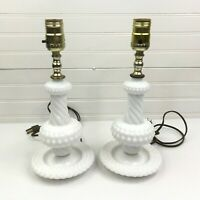 Pair (2) Vintage Milk Glass White Hobnail Swirl Table Bedside Lamps Electric