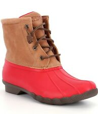 SPERRY Top-Sider women Saltwater Winter Rain Waterproof DUCK BOOTS Red/Tan 7.5 M