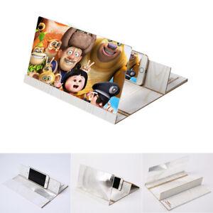 "12"" Wood Grain HD Mobile Phone Screen Magnifier 3D Video Amplifier Folding Stand"