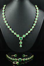 925 Sterling Silber handgemachte authentische türkischen Smaragd Damen Set