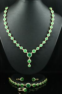 925 Sterling Silver Handmade Authentic Turkish Vintage Style Emerald Ladies Set