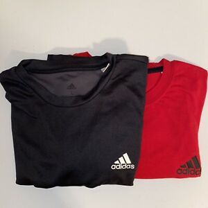 Adidas Climalite Black Red Dry-fit T-Shirt Men's Short Sleeve Large Lot Of 2