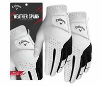 Callaway 2019 Men's Weather Spann Golf Glove (2 Pack), White, Medium, Left Hand