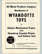 1952 PAPER AD All Metal Wyandotte Toys Hafner Mechanical Train Sets Hopalong Gun