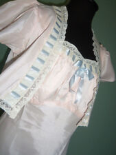 NOS Lovely Vtg 40s Rayon Empire Bias Cut V Back Nightgown Bed Jacket Peignoir 36