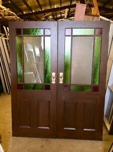 VICTORIAN ART DECO GLASS  DOOR SET