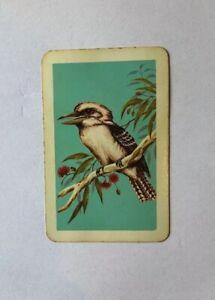 Vintage Australian Bird Playing Swap Card, Kookaburra Sitting In A Gum Tree 1960