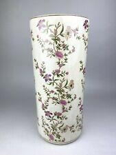 Ceramic Umbrella Stand - Pink Floral Design - Crackle Glazed - Vintage Style