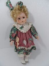 """Beautiful Blonde Porcelain Doll w/Green/Maroon Floral 15"""" Tall - Vgc"""