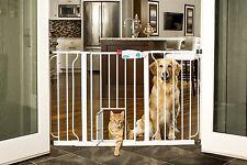 Wide Walk Thru Gate with Pet Door Dog Cat Indoor Fence Child Safety Baby Barrier