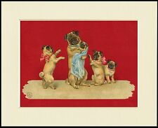 PUG MOTHER AND PUPPIES LOVELY DOG PRINT MOUNTED READY TO FRAME