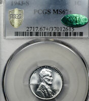 1943-S MS67+ Plus Lincoln Wheat Cent Steel 1c, PCGS Graded, CAC Approved