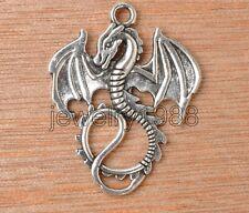 15pcs Tibetan Silver Dragon Jewelery Finding Charm Pendant 34X27MM F3350