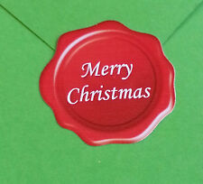 "30 ""Merry Christmas"" white on red wax seal effect card and present stickers (86)"