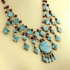 TURQUOISE BellyDance ATS Costume NECKLACE Kuchi Tribe 806d3