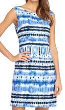 Tahari ASL White Royal Indigo Ikat Print Linen Blend Sheath Sz 8 $118