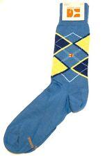 Hugo Boss Men's Cotton Socks Blue Yellow Plaids Logo Design Size US 6.5-11
