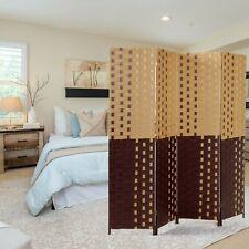 6Ft Dark Light Brown 4 Panel Room Divider Folding Freestanding Privacy Screen