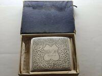 Beautiful Hallmarked Solid Silver  Cigarette Case Birmingham 1919