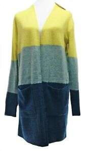 A New Day Cardigan Color Block Open-Front Cozy Women's Size S Green/Teal/Yellow