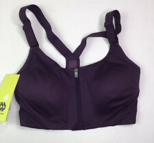 All In Motion Sports Bra Fitness Purple Zip Front Racerback Size 34C