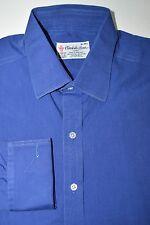 Turnbull & Asser Men's 16 41cm French Cuff Dress Shirt Blue Cotton England