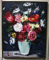 "Still Life Oil on Canvas Vibrant Flower Vase 28"" x 22"" x 1-3/4"" Folk Art"