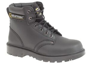 MENS BLACK LEATHER GRAFTERS STEEL TOE SAFETY WORK BOOTS Size 6