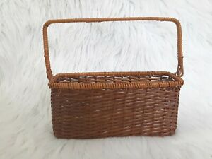 Rectangle Hanging Wicker Basket with Handle Country Farmhouse Boho