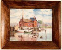 1952 Vintage Original Oil painting seascape sail boats in harbor Framed Signed