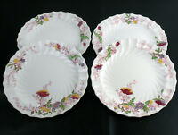 "Copeland Spode Fairy Dell Poppy Luncheon Plates 4 Set, Vintage England 9"" Dinner"