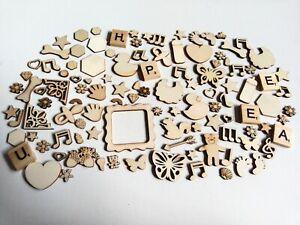 110 Mix Wooden embellishments Craft scrapbooking  jewelry mixed media card make