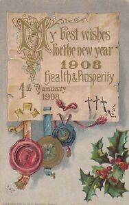 CANADA to MAURITIUS Best  New Year 1908 1st January PPC by H I Robbins Used