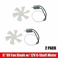 "2 Pack 6"" RV Roof Bathroom Air Vent Fan White 6 Blade w/ 12V Motor Mobile Home"