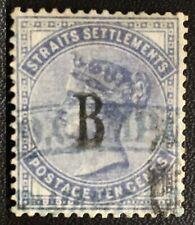 Malaya British PO Siam Thailand Bangkok STRAITS QV 10c used CA SG#21 M2723