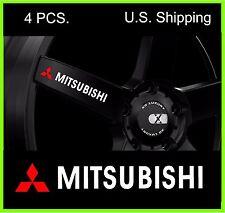 4 MITSUBISHI Stickers Decals Wheels Rims Door Handle Mirror evo lancer WHITE