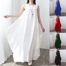 UK 8-24 ZANZEA Women Vintage Sleeveless Casual Baggy Long Maxi Boho Dress Kaftan