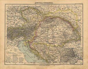 Carta geografica antica IMPERO DI AUSTRIA UNGHERIA 1897 Old antique map